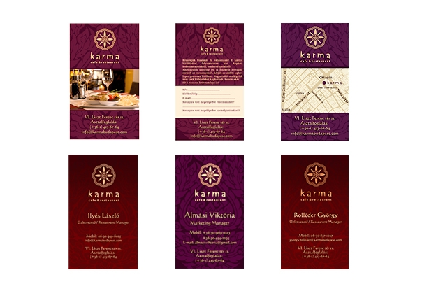 diffetent cards for karma restaurant