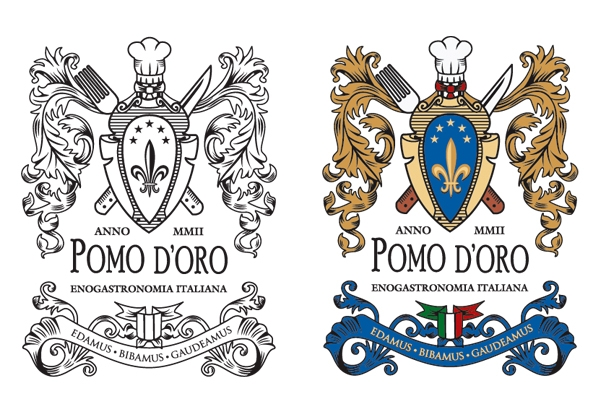 Italian Restaurant Logo With Flag: Coat Of Arms Design For Italian Restaurant: ArtamaxBrand